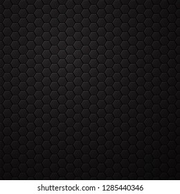 Black background with hexagons, honeycomb pattern. Vector