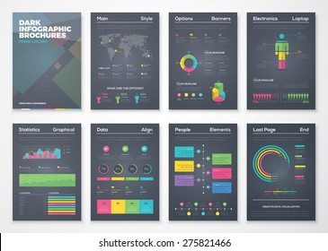 Black background infographic brochures with flat colorful style. Vector illustrations of modern info graphics. Use in website, flyer, corporate report, presentation, advertising, marketing etc.