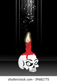 black background with isolated spooky skull on candle