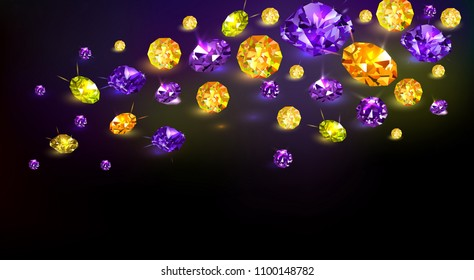 Black background with many scattered purple and yellow gems. Vector illustration.