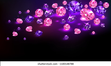 Black background with many scattered purple and pink gems. Vector illustration.