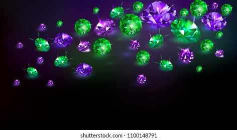 Black background with many scattered purple and green gems. Vector illustration.