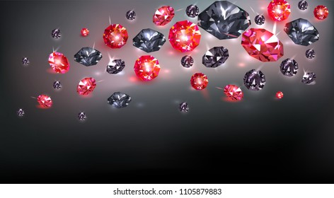 Black background with many scattered black and red gems. Vector illustration.