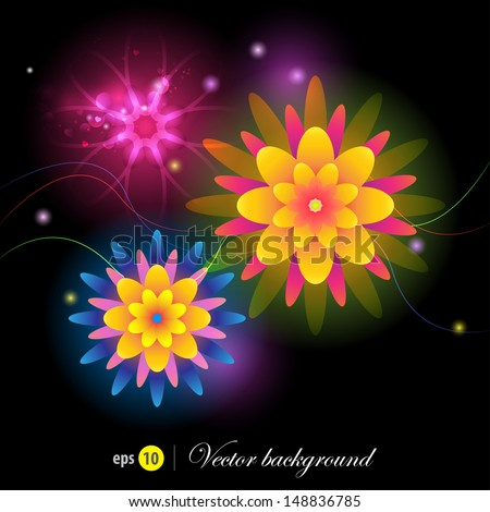 black background neon flowers stock vector royalty free 148836785