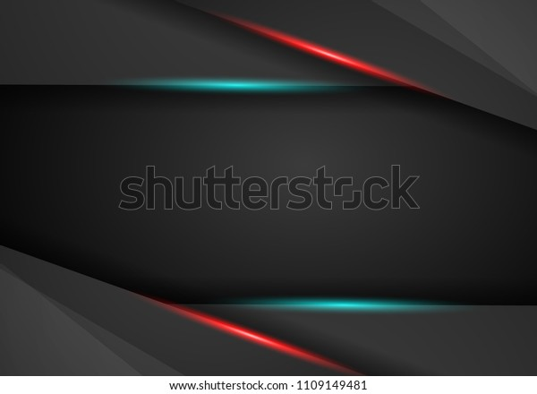 Black Background Overlap Dimension Red Blue Stock Vector
