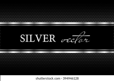 Black background with a pattern in silver style.