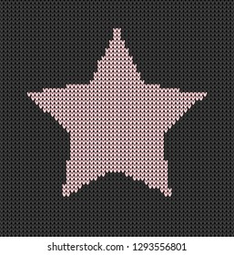 Black background pink stars knitted pattern vector
