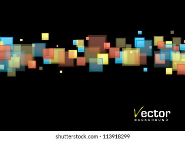 Black background with rainbow band in modern square element