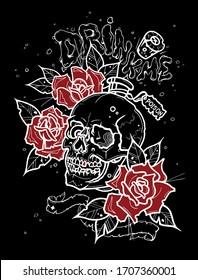 Black background, vector illustration, skull, red roses