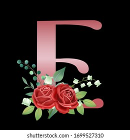 Black background vintage hand drawn rose gold English letter E vector illustration with rose flower leaves, spring and summer elements, elegant wedding font, blooming flowers,