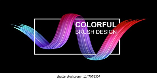 Black background with white frame and spectrum watercolor, acrylic or gouache wavy brush stroke. Colorful gradient brush design. Abstract template. Vector art illustration.