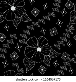 black background with white line hibiscus flower and leaf pattern seamless
