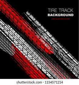 Black background with white, red and gray tire track silhouettes