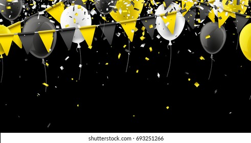 Black background with yellow flags, balloons and confetti. Vector illustration.