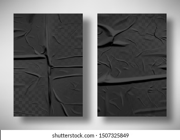 Black bad glued paper realistic vector illustration. Set of wet wrinkled and creased paper sheets with crumpled texture, blank posters glued to street wall or advertising column, mock up for design