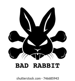 Black bad rabbit ransomware logo design on white background. Vector illustration cyber crime and security logo concept.