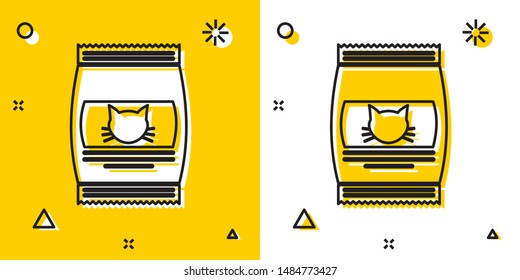 Black Bag of food for cat icon isolated on yellow and white background. Food for animals. Pet food package. Random dynamic shapes. Vector Illustration
