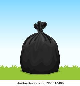 black bag plastic garbage on grass sky background, bin bag, garbage bags for waste, pollution plastic bag waste, 3r ad, waste plastic bags and copy space for banner advertising background
