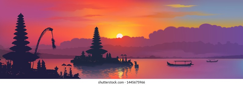 Black balinese water temples and fisherman boats silhouettes on rainbow colors sunset sky background, vector banner illustration