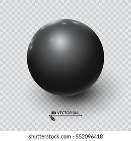 Black ball on a transparent background. Vector for your graphic design.