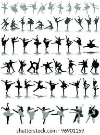black ballerina silhouette on white background 2-vector