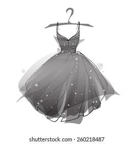 Black ballet dress, vector