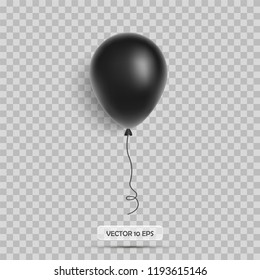 Black balloon. Isolated on white. Realistic 3d icon. Vector