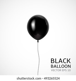 Black balloon isolated on white background. Vector illustration for your graphic design.