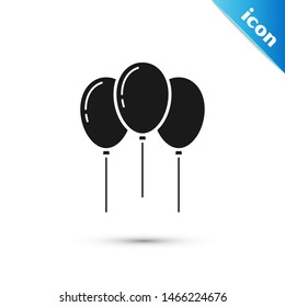 Black Balloons with ribbon icon isolated on white background.  Vector Illustration