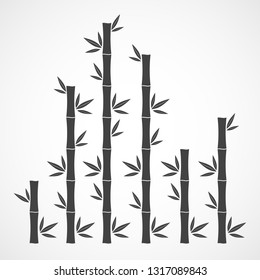Black bamboo branches and leaves. Vector illustration. Bamboo stems. Bamboo icon.