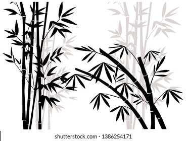 Black bamboo forest set vector