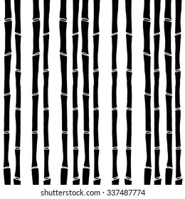 black bamboo on white backdrop  vector pattern