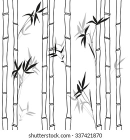 black bamboo on white background vector pattern