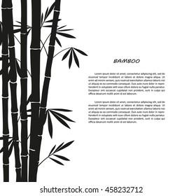 Black bamboo silhouette on a white background. Vector illustrator