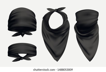 Black bandana realistic illustrations set. Head and neck 3d accessory. Biker and cowboy clothes for protecting face isolated on white background. Fashionable silk kerchief. Unisex clothing