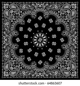 Black bandana with white ornaments.