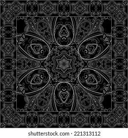 Black bandana with white print