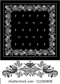 Black Bandana Black and white vector bandana apparel accessory. Design elements on the bandana have been built and grouped so that you can change the color of the elements with one click.