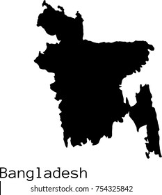 Black Bangladesh  map vector silhouette