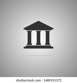 Black bank icon in cool flat style isolated on gray background. Vector illustration.