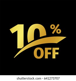 Black banner discount purchase 10 percent sale vector gold logo on a black background. Promotional business offer for buyers logotype. Ten percentage off, discounts in the strict style coupon