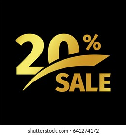 Black banner discount purchase 20 percent sale vector gold logo on a black background. Promotional business offer for buyers logotype. Twenty percentage off, discounts in the strict style coupon