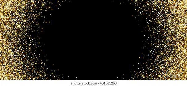 Black banner with sand. Vector illustration.