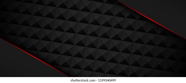 Black banner template with red frame and geometric textured pattern. Vector background.
