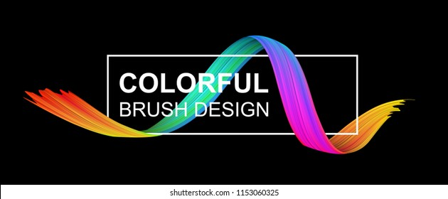 Black banner with white frame and spectrum watercolor, acrylic or gouache wavy brush stroke. Colorful gradient brush design. Abstract template. Vector art illustration.