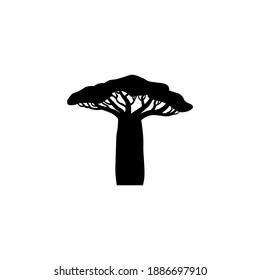 Black baobab icon, tree sign. Vector illustration eps 10.