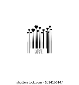 Black Bar Code with Heart Shapes for Valentines Day Love Design Monochrome Growing Hearts Silhouettes, Barcode Lines, Valentine Holiday Sign Isolated on White Background