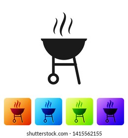 Black Barbecue grill icon isolated on white background. BBQ grill party. Set icon in color square buttons. Vector Illustration