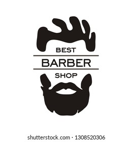 Black barbershop logo with lettering word Bearded and hand drawn haircuts and beard. Isolated vector illustration on white background