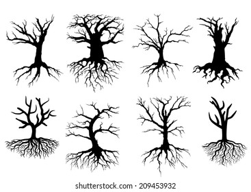 Black bare tree silhouettes with roots isolated over white background, suitable for ecology, logo and environment design